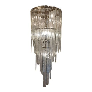 Murano Battuto Glass Chandelier by Mazzega, Italy, 1960s