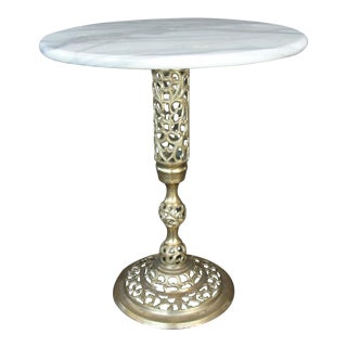 1950s Vintage Hollywood Regency Brass Marble Top Round Stand