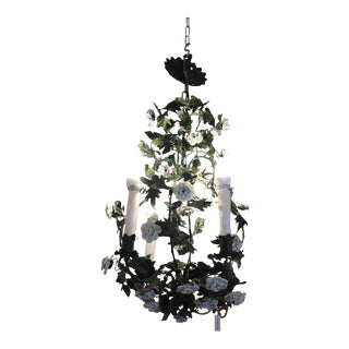 Vintage Italian Petite Metal and Porcelain Chandelier