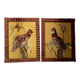 Needlepoint Framed Pheasant - A Pair