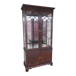 CENTURY FURNITURE CO. Mahogany Chippendale Style Lighted China Cabinet