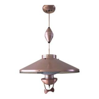 Mid-Century Modern Copper Pull Down Pendant Light