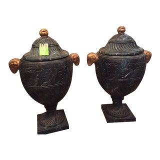 Green Italian Urns - A Pair