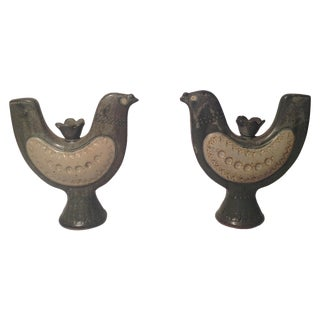 Danish Candleholders of Stoneware Birds - A Pair