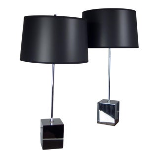 Chrome Cube Based Table Lamps - A Pair