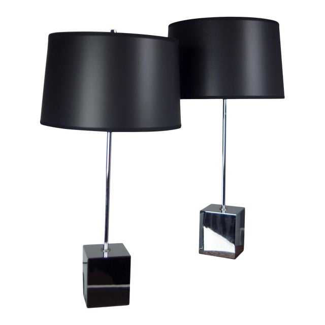 Image of Chrome Cube Based Table Lamps - A Pair