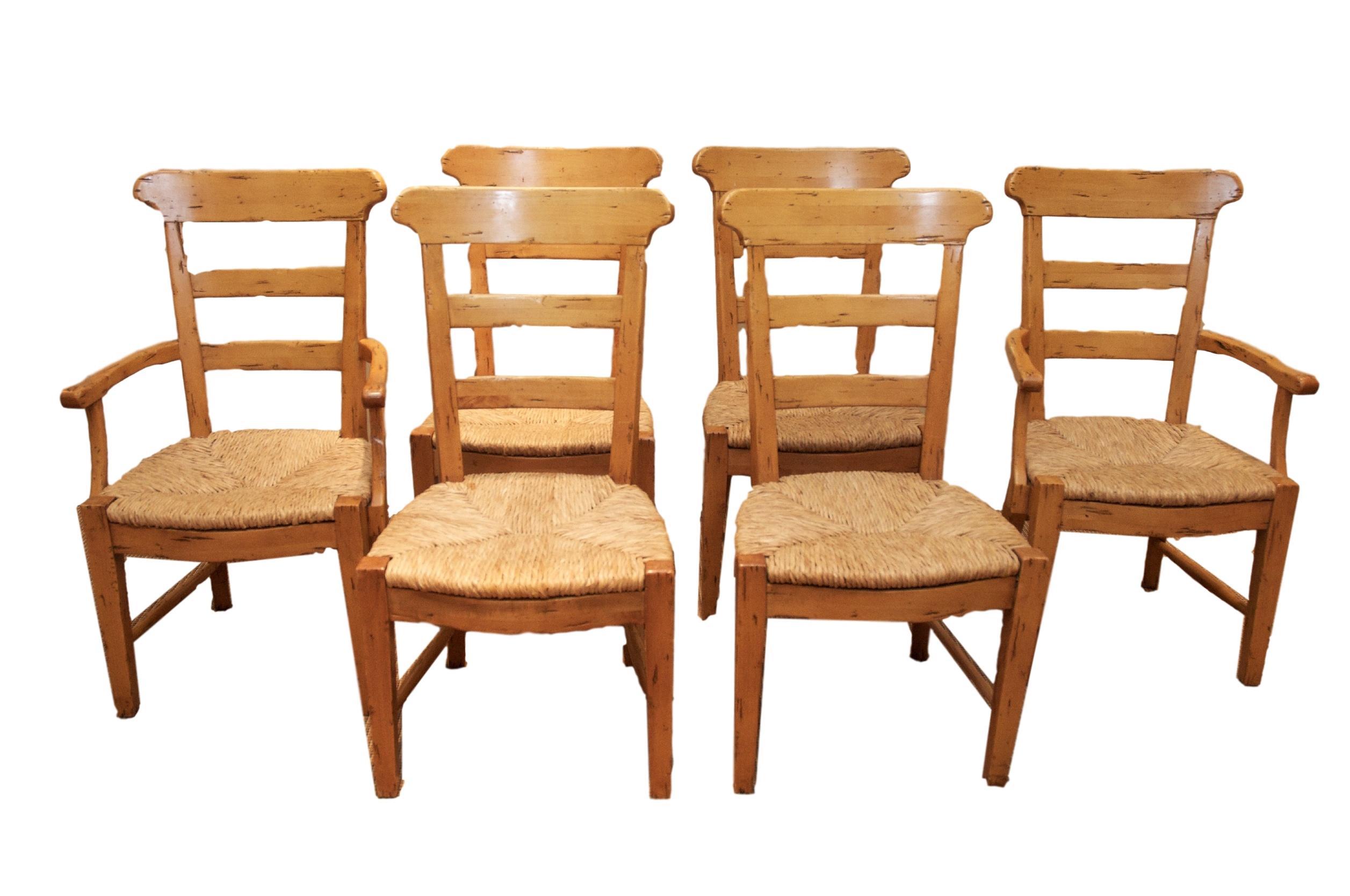 Fremarc Ladder Back Rush Seat Chairs   Set Of 6
