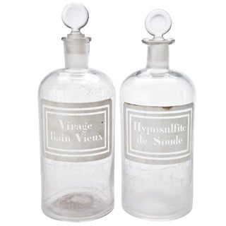 Vintage French 1L Apothecary Bottles- A Pair