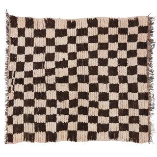 Vintage Berber Moroccan Rug with Checkerboard Design - 4'4 x 4'10