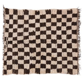 Vintage Berber Moroccan Rug with Checkerboard Design - 4'4 x 4'10