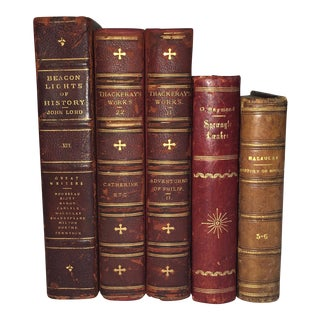 Designer Antique Red Leather Display Books - Set of 5