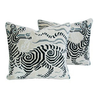 Hollywood Glam Clarence House Tibet Dragon Fabric Pillows - Pair