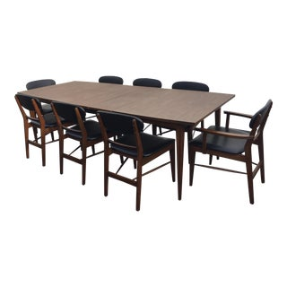 Danish Modern Table and 8 Chairs by Basic Witz