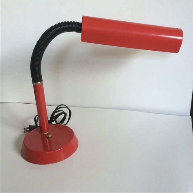 Image of Vintage 1970s Red Gooseneck Desk Lamp