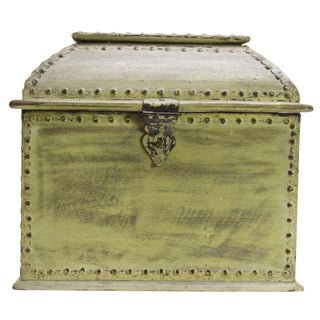Colonial Rustic Green Iron & Wood Wine Chest