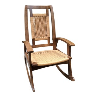 Hans Wegner Style Mid-Century Modern Woven Rope Rocking Chair
