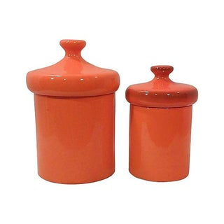 Mid-Century Orange Ceramic Canisters- Set of 2