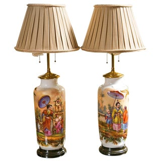 19 C. French Chinoiserie Porcelain Lamps - A Pair