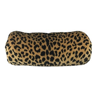 Leopard Cotton & Velvet Bolster Pillow