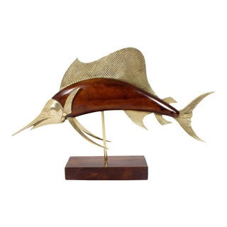Mahogany and Brass Sailfish on Mount