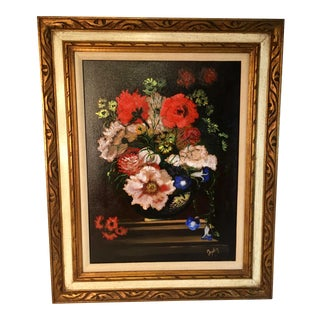 Vintage Still Life of Flowers Oil Painting