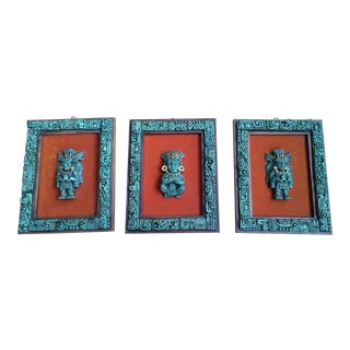 Vintage Stone Mosaic Turquoise Aztec Wall Art Pieces - Set of 3