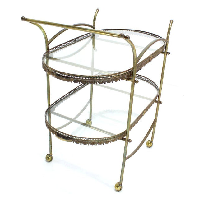 Two-Tier Brass Serving Cart Table with Removable Trays - Image 7 of 10
