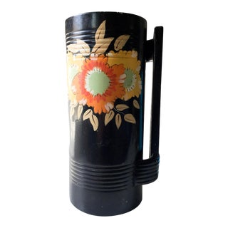 Alney English Art Deco Black Floral Vase