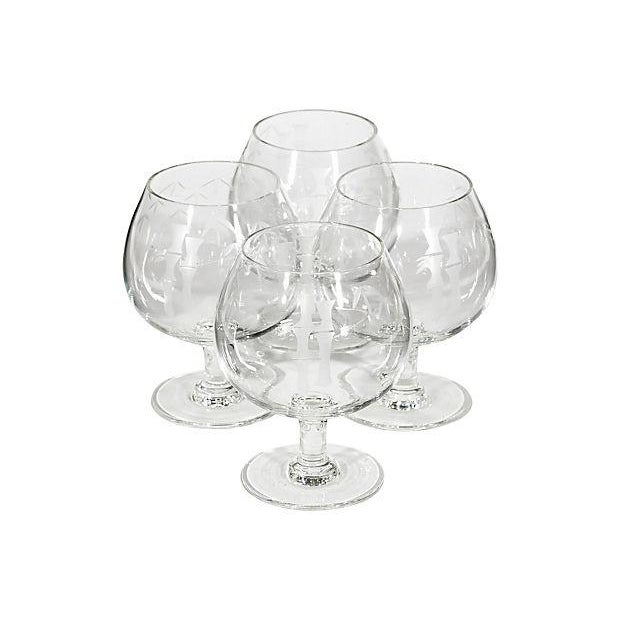 Image of 1950's Bamboo-Etched Bandy Snifters - Set of 4