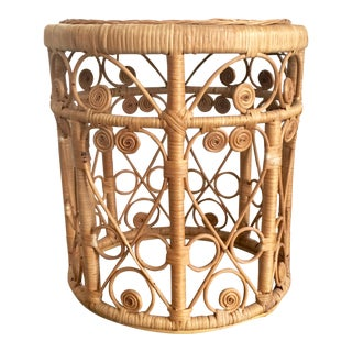 Vintage Boho Round Wicker End Table