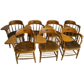 Early 20th Century Oak Classroom Chairs - Set of 7