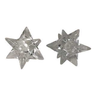 Glass Star Candle Holders - A Pair
