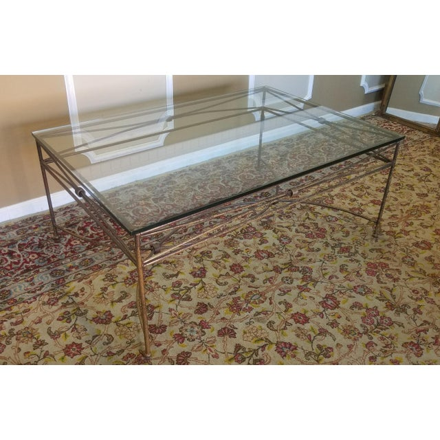 Large Contemporary Glass Top Gilded Metal Base Cocktail Coffee Table Chairish