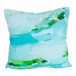 Aqua & Green Brushstroke Pillow