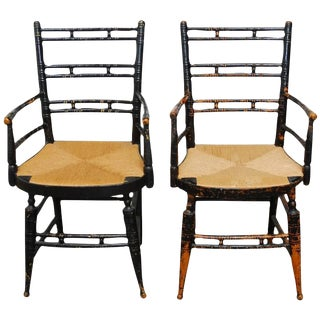 19th Century Faux-Bamboo Armchairs - a Pair