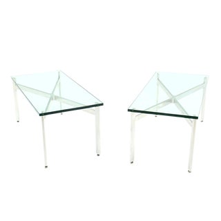Pair of X-Base Glass-Top Coffee Tables