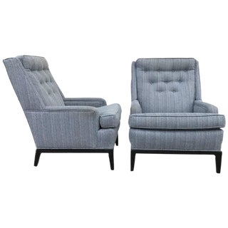 Gray Upholstered Club Chairs - A Pair