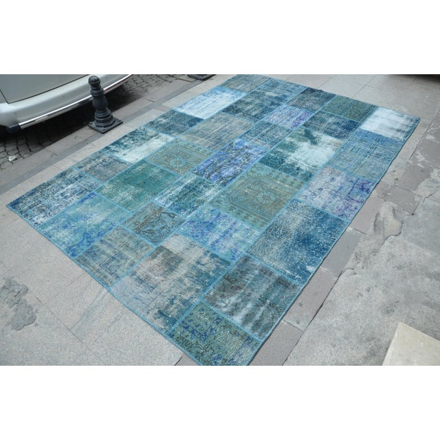 Blue Turkish Patchwork Rug - 6′10″ × 9′10″ - Image 3 of 6
