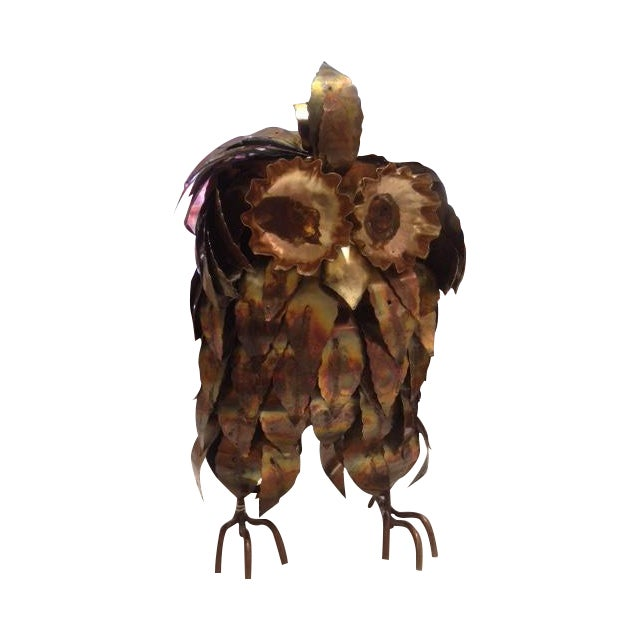 Curtis Jere Style Large Brass Brutalist Owl - Image 1 of 3