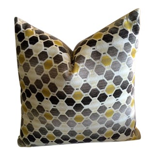 Modern Geometric Chartreuse & Gray Pillow