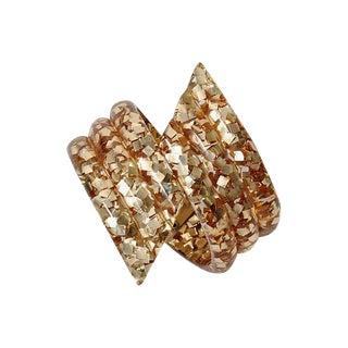 Vintage Gold Glitter Lucite Clamper