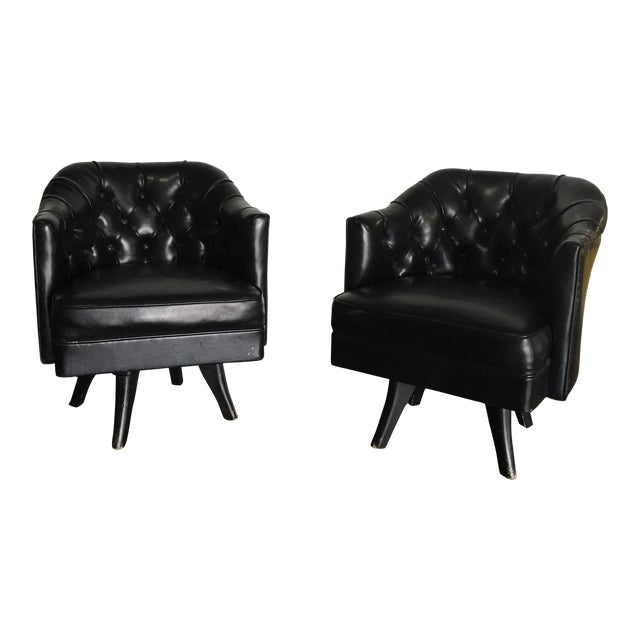 Monteverdi Style Mid-Century Tufted Chesterfield Swivel Chairs- A Pair - Image 1 of 7