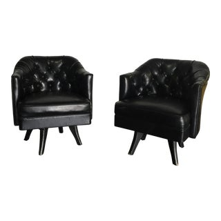 Monteverdi Style Mid-Century Tufted Chesterfield Swivel Chairs- A Pair