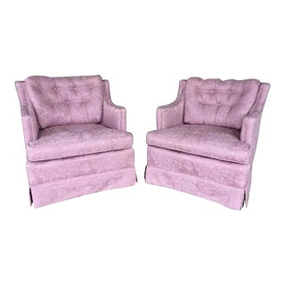 Vintage Hollywood Regency Tufted Slipper Chairs - A Pair