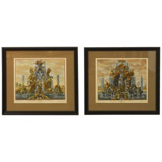 Paul Decker Fountain Scenes Etchings - A Pair