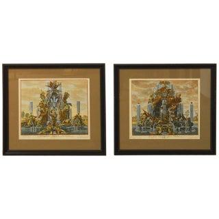 Paul Decker Fountain Scenes Etchings - Pair