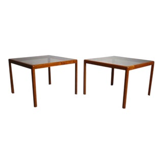 Teak End Tables with Smoked Glass Tops - A Pair