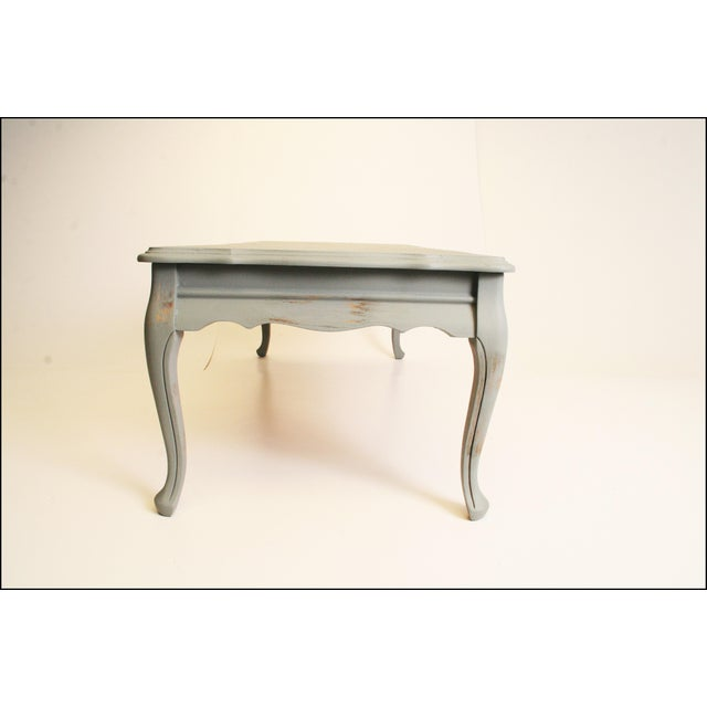Distressed Blue Coffee Table: Vintage Distressed Cottage Chic Blue Wood Coffee Table