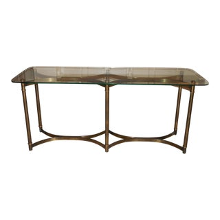 Billy Baldwin Style Patinated Brass and Glass Console C. 1970
