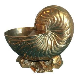 Vintage Large Brass Nautilus Planter Seashell Shell Statue